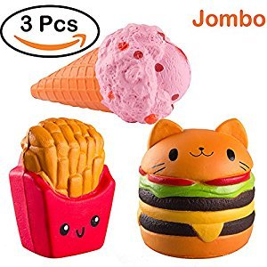 WATINC Kawaii Jumbo hamburger&fries set Squishy Slow Rising Sweet Scented Vent Charms Kid Toy Hand Toy, Stress Relief Toy , decorative props Doll Gift Fun Large