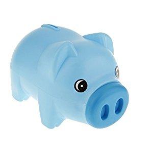 Blue Plastic Animal Piggy Bank Saving Cash Coin Money Box Children Kids Gift