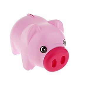 Cute Plastic Animal Piggy Bank Saving Cash Coin Money Box Children Kids Pink