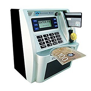 FSMY ATM Savings Piggy Bank Machine with Card Code to Access and Coin Auto Recognition for Kids Birthday Gift-Canadian Dollars Version