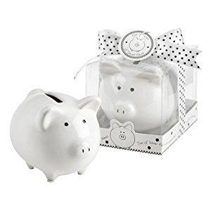 Kate Aspen Li'L Saver Favor Ceramic Mini-Piggy Bank in Gift Box with Polka-Dot Bow