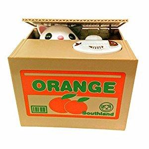 Mischief Saving Box Stealing Coin Piggy Bank, White Kitty Orange Box