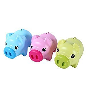 Piggy Bank Pack of 3 Plastic Pig Money Box for Coins & Cash Novelty Saving Boxes for Children, Rose Red&Blue&Green(Clolor Random)