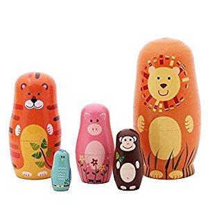 ANKKO 5Pcs Russian Wooden Nesting Dolls Handmade Matryoshka Animal Doll