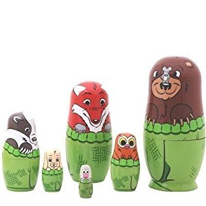 Forest Cute Animals . Beautiful Wooden Russian Nesting Doll 6pcs