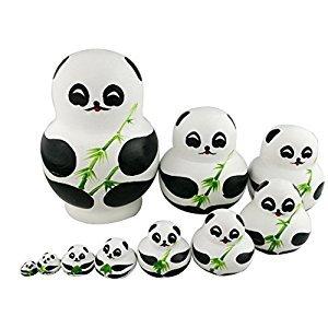 Set of 10 Panda With Bamboo Nesting Dolls Matryoshka Russian Doll Popular Handmade Kids Girl Gifts Christmas Toy