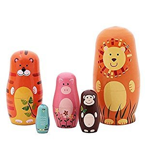 Set of 5 Cutie Cartoon Animal Nesting Dolls Matryoshka Madness Russian Doll Popular Handmade Kids Gifts Toy