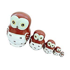 Set of 5pcs Painted Wooden Owl Bird Nesting Dolls Matryoshka Russian Doll Kids Gift