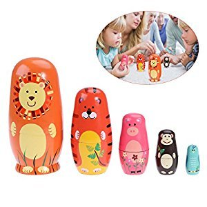 TOYMYTOY 5pcs Cute Nesting Dolls Russian Handmade Wooden Cartoon Animals Pattern Doll Toy Gift