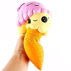 Vinjeely Squishy Ice Cream Toy Soft Cream Scented Slow Rising Simulation Lovely Toy-Squeeze Kids Toy Decompression Educational Toy for Kids and Adults