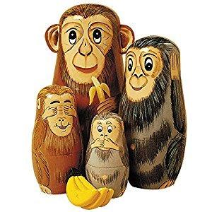 Wooden Russian Nesting Dolls Monkey Figurines - Matryoshka Doll Animal Figurines - Fun Stacking Dolls Set of 5