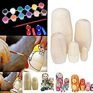 xlpace 5pcs DIY Blank Unpainted Wooden Nesting Russian Dolls DIY Kit + 12 Color Art Pigment with Pen