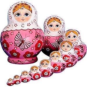 YAKELUS 10pcs Russian Nesting Dolls Matryoshka handmade 01071