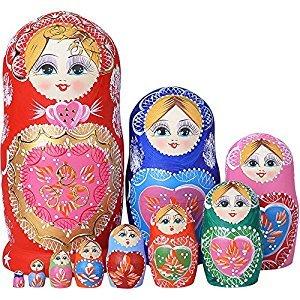 YAKELUS 10pcs Russian Nesting Dolls Matryoshka handmade 1051