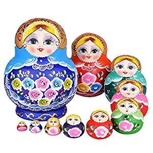 YAKELUS 10pcs Russian Nesting Dolls Matryoshka handmade1084