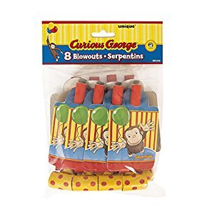 Curious George Party Blowers, 8ct