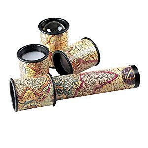 Bits and Pieces - Old Map Kaleidoscope - Multiple Lenses and Map Accents - Unique Gift - Measures 7