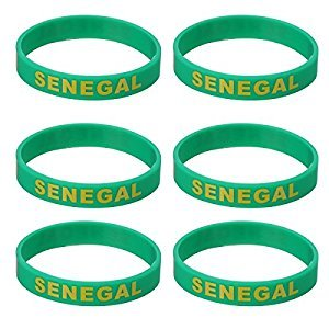 BESTOYARD Silicone World Cup Wristband Rubber Sports Bracelet for 2018 6PCS (Senegal)