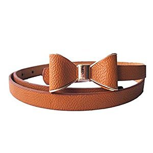 Children Belt Bow-knot Skirt Belt Artificial Leather Decorative Belt, Camel