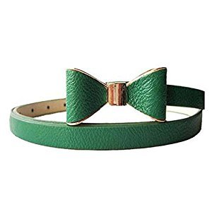 Children Belt Bow-knot Skirt Belt Artificial Leather Decorative Belt, Green