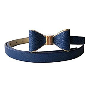 Children Belt Bow-knot Skirt Belt Artificial Leather Decorative Belt, Royal Blue
