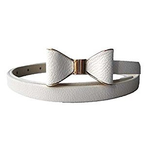 Children Belt Bow-knot Skirt Belt Artificial Leather Decorative Belt, White