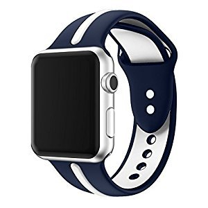 For Apple Watch Band, VIPPLUS Soft Silicone iWatch Band Sports Fan Replacement Wristband Contrast Color Splicing Strap Stripe for Apple Watch Series 1 Series 2 Series 3 (38mm blue/white)