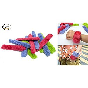 Fur Slap Bracelets 12 Pack Measures 9 Inches Fun and Great For: School, Parties, Camp, etc.