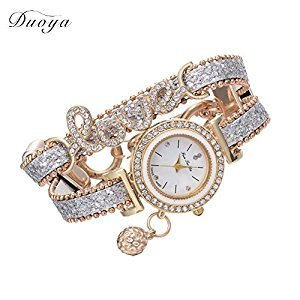 Jocestyle Women Fashion Leather Strap Love Bracelet Watch Quartz Wristwatch Gifts for Lady Girls