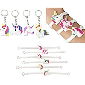 (set of 37)25pcs Magical Unicorn Party Novelty Toy Wristband +12pcs Unicorn Keychains Party Favors,for Kids Birthday Party ,Novelty Toys and School Classroom Rewards