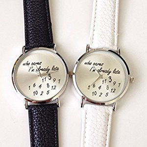 U-beauty Unisex Men Women Lady Girls i'm already late Leather Strap Watches Quartz Wristwatch (Black)