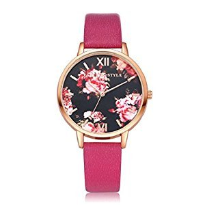 Women Quartz Wristwatch,Hosamtel LVPAI Flower Pattern Clock Lady Dress Gift Watch (Hot Pink)