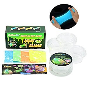 SuSenGo Glow in the Dark Slime Kit- Blue, Green, Orange and Yellow Slimy Experiments