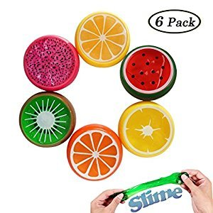 Swallowzy 6PCS Crystal Slime Putty Toy Soft Rubber Fruit Slime Clay Stress Relief Toys for Kids, Students, DIY, Birthday Party Favors