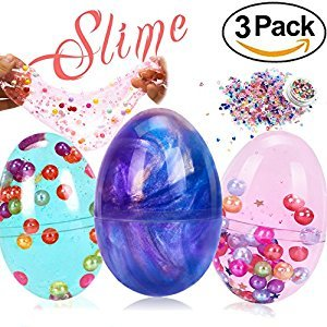 Synmila 3 pack squishy Soft Egg Slime Colorful Fluffy Slime Galaxy Sludge Slime + 2 Crystal Colors Putty Eggs with Colorful Pearl Mud Sparkle Slices Gifts Scented Stress Relief Toys for kids Adults