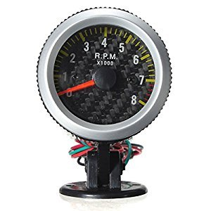 Car Auto Yellow Led Rev Tachometer Gauge Rpm Carbon Fiber (Usa)