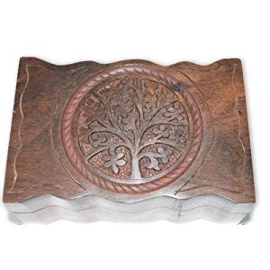 Tree of Life Carved Wooden Box- Tarot Cards, Crystals, Altar Supplies, Healing, Meditation, Gift Giving