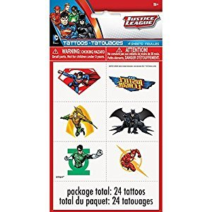 Justice League Temporary Tattoo Sheets, 4ct