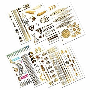 Metallic Temporary Tattoos, PrettyDate 150+ Henna & Boho Designs in Gold Silver Black, Fake Glitter Jewelry Tattoos- Bracelets, Necklaces, Wrist, Anklets and Armbands(8 Sheets)