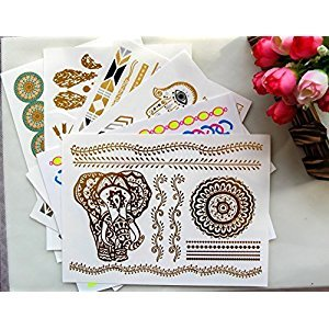 TOAOB Women 6 sheets Mixed Metallic Gold Silver Black Jewelry Temporary Bling Tattoo