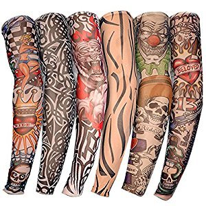 YESURPRISE 6pcs Anti UV Temporary Tattoo Sleeves Cover Up Body Arm Stockings for Men Women-A1