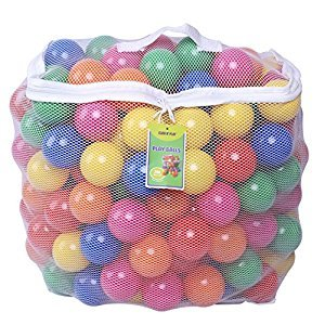 Click N' Play 0005B Pack of 200 Phthalate Free BPA Free Crush Proof Plastic Ball, Pit Balls-6 Bright Colors in Reusable and Durable Storage Mesh Bag with Zipper