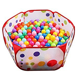 Kids Ball Pit EocuSun Large Pop Up Toddler Ball Pits Play Tent for Toddlers Girls Boys for Indoor Outdoor Baby Playpen w/ Zipper Storage Bag, Balls Not Included (Red)