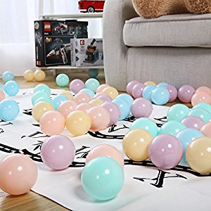 Pack of 50 PlayMaty Macaron Ball Pit Plastic Ball Kids Swim Pit Fun Toy 50 Pieces Balls with Storage Bag for Baby Playhouse Pool Birthday Party Decoration
