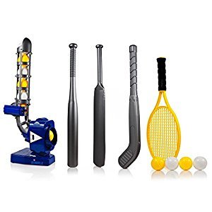 Power Pro Kids 4 In 1 Multi-Function Pitching Machine Plus Baseball Bat, Tennis Racket, Hockey Stick, Cricket Bat & 12 Balls, Best Training Sports Toy to Build Your Childs Self Esteem by Dimple (Blue)