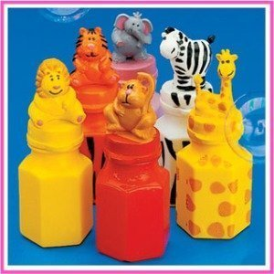 24 ZOO Animal Jungle Characters Bubble Bottles Lion Zebra Giraffe Monkey Tiger Elephant