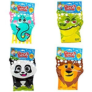 Glove-A-Bubbles 4 Pack: 1 Elephant, 1 Lion,1 Panda, 1 Alligator