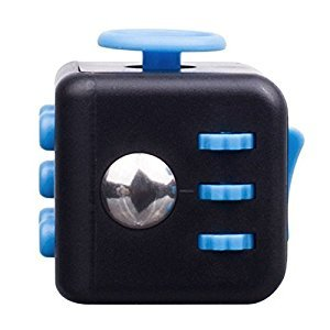 Dinopure Premium Fidget Cube Toy - Perfect for Children & Adults for ADD, ADHD, & OCD Relief - Optimal Stress Relief & Anxiety Reducer - Increase Focus & Attention (blue-black)