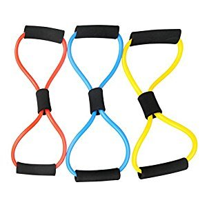 Fitness Pull Exerciser Rope Arm Chest Strength Training Sponge Handle with 2 Resistance Band One Piece Radom Color