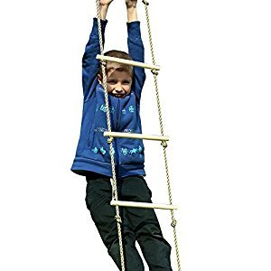 HappyPie Playground Climbing Wooden Rope Ladder for Kids Indoor Outdoor-64 Inch Length